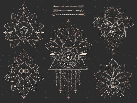 Vector set of Sacred geometric symbols and Lotus on black grunge background. Gold abstract mystic signs collection drawn in lines. For you design and magic craft. Иллюстрация