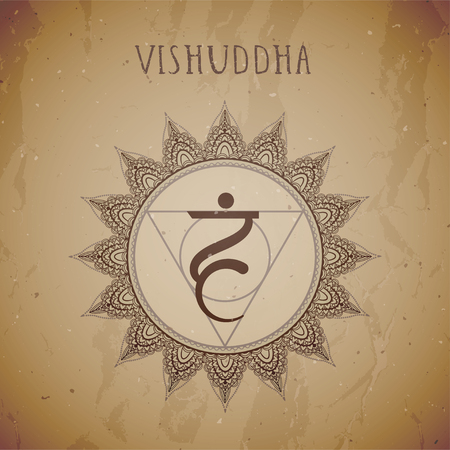 Vector illustration with symbol chakra Vishuddha grunge background. Circle mandala pattern and hand drawn lettering. Illustration