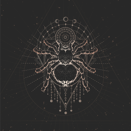 Vector illustration with hand drawn Spider and Sacred geometric symbol on black vintage background. Abstract mystic sign. Gold linear shape. For you design and magic craft. Vettoriali