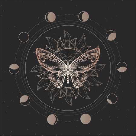 Vector illustration with hand drawn butterfly and Sacred geometric symbol on black vintage background. Abstract mystic sign. Gold linear shape. For you design or magic craft.