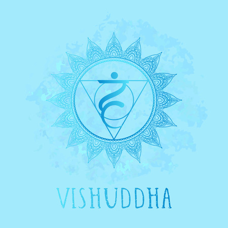Vector illustration with symbol chakra Vishuddha on watercolor background. Circle mandala pattern and hand drawn lettering. Coloredr. Illusztráció