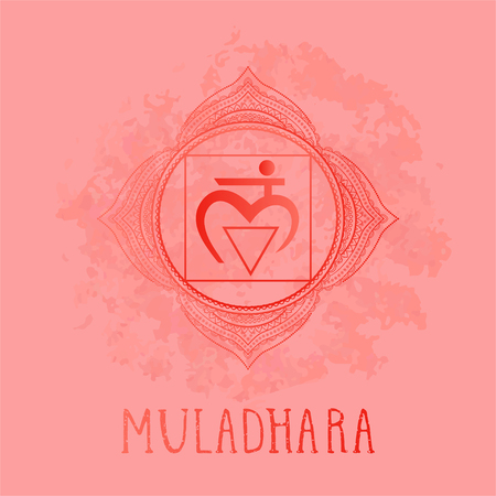 Vector illustration with symbol chakra Muladhara on watercolor background. Circle mandala pattern and hand drawn lettering. Multicolor.