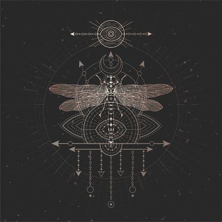 Ilustración de vector con libélula dibujada a mano y símbolo geométrico sagrado sobre fondo negro vintage. Signo místico abstracto. Forma lineal de oro. Para tu diseño y artesanía mágica.