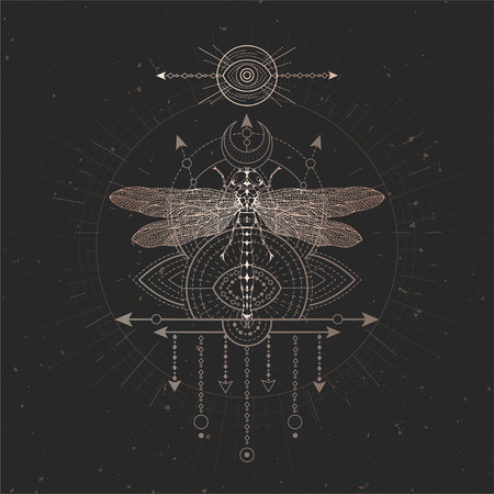 Vector illustration with hand drawn Dragonfly and Sacred geometric symbol on black vintage background. Abstract mystic sign. Gold linear shape. For you design and magic craft. Illusztráció