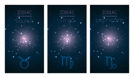 Set of three cards with Signs of the Zodiac, astrological constellations and abstract geometric symbol against the starry sky. Collection of the Earth elements: taurus, virgo, capricorn. Vector illustration.