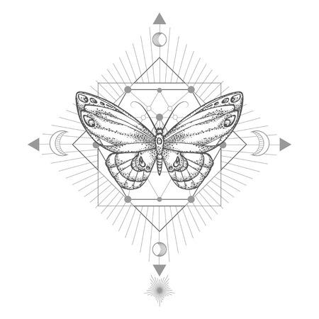 Illustration vectorielle avec papillon dessiné à la main et symbole géométrique sacré sur fond blanc. Signe mystique abstrait. Forme linéaire noire. Pour votre conception, tatouage ou artisanat magique.