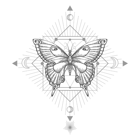 Vector illustration with hand drawn butterfly and Sacred geometric symbol on white background. Abstract mystic sign. Black linear shape. For you design, tattoo or magic craft.