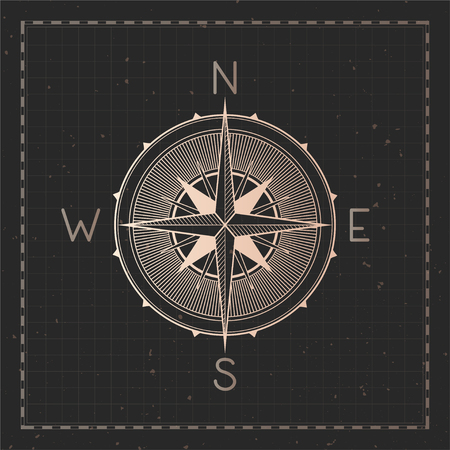 Vector illustration with gold compass or wind rose and frame on dark background. With basic directions North, East, South and West.