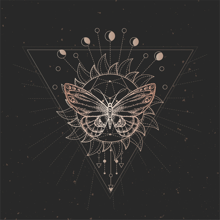 Vector illustration with hand drawn butterfly and Sacred geometric symbol on black vintage background. Abstract mystic sign. Gold linear shape. For you design or magic craft. Imagens - 124952597