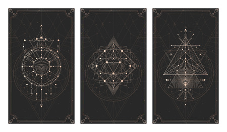 Vector set of three dark backgrounds with geometric symbols, grunge textures and frames. Abstract geometric symbols and sacred mystic signs drawn in lines. Illustration in black and gold colors. For you design and magic craft. Imagens - 124952603