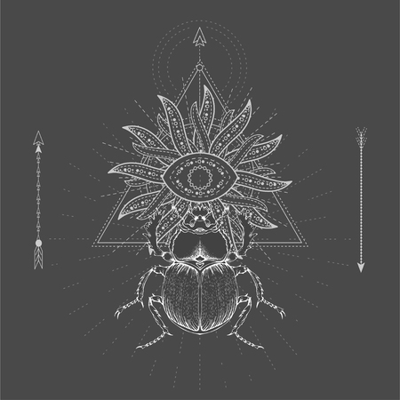 Vector illustration with hand drawn Scarab and Sacred geometric symbol on black background. Abstract mystic sign. White linear shape. For you design, tattoo or magic craft. Imagens - 124952609