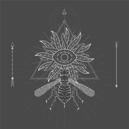 Vector illustration with hand drawn Wasp and Sacred symbol Sun on black background. Abstract mystic sign. White linear shape. For you design, tattoo or magic craft.