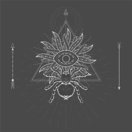 Vector illustration with hand drawn Spider Tarantula and Sacred geometric symbol on black background. Abstract mystic sign. White linear shape. For you design, tattoo or magic craft. Ilustração