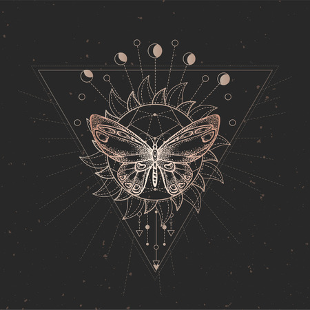 Vector illustration with hand drawn butterfly and Sacred geometric symbol on black vintage background. Abstract mystic sign. Gold linear shape. For you design or magic craft. Ilustração