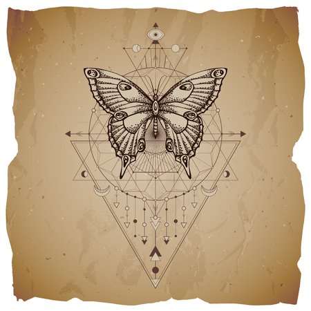 Vector illustration with hand drawn butterfly and Sacred geometric symbol on vintage paper background with torn edges. Abstract mystic sign. Sepia linear shape. For you design or magic craft. Imagens - 124952617