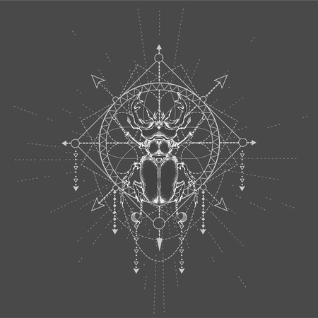 Vector illustration with hand drawn Stag Beetle and Sacred geometric symbol on black background. Abstract mystic sign. White linear shape. For you design, tattoo or magic craft.