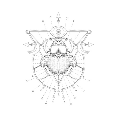Vector illustration with hand drawn scarab and Sacred symbol on white background. Abstract mystic sign. Black linear shape. For you design, tattoo or magic craft. Imagens - 124952620