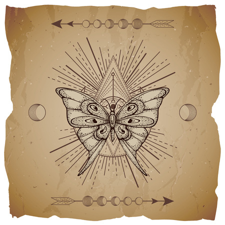 Vector illustration with hand drawn butterfly and Sacred geometric symbol on old paper background with torn edges. Abstract mystic sign. Sepia linear shape. For you design or magic craft. Vettoriali