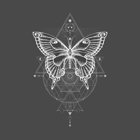 Vector illustration with hand drawn butterfly and Sacred geometric symbol on black background. Abstract mystic sign. White linear shape. For you design, tattoo or magic craft. Imagens - 124952711