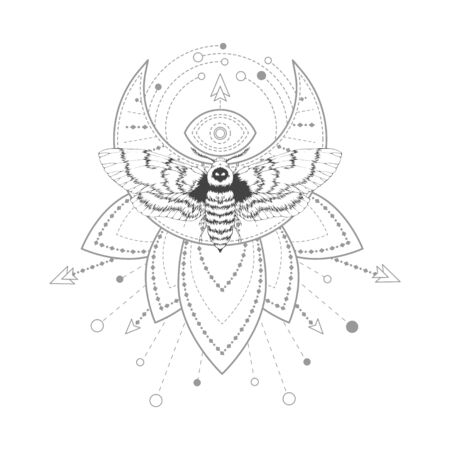 Vector illustration with hand drawn dead head moth and Sacred symbol on white background. Abstract mystic sign. Black linear shape. For you design, tattoo or magic craft. Imagens - 124952714