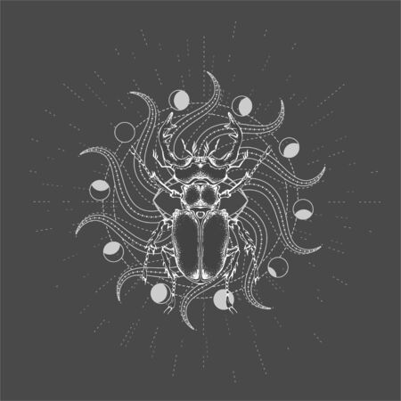 Vector illustration with hand drawn Stag Beetle and Sacred geometric symbol on black background. Abstract mystic sign. White linear shape. For you design, tattoo or magic craft. Imagens - 124952715