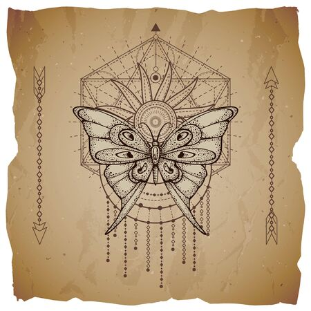 Vector illustration with hand drawn butterfly and Sacred geometric symbol on old paper background with torn edges. Abstract mystic sign. Sepia linear shape. For you design or magic craft. Ilustração
