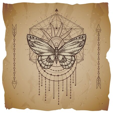 Vector illustration with hand drawn butterfly and Sacred geometric symbol on old paper background with torn edges. Abstract mystic sign. Sepia linear shape. For you design or magic craft.