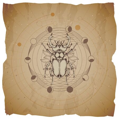 Vector illustration with hand drawn Stag beetle and Sacred geometric symbol on old paper background with torn edges. Abstract mystic sign. Sepia linear shape. For you design and magic craft.