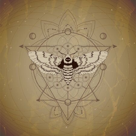 Vector illustration with hand drawn Dead head moth and Sacred geometric symbol on vintage paper background. Abstract mystic sign. Sepia linear shape. For you design and magic craft. Imagens - 124952725