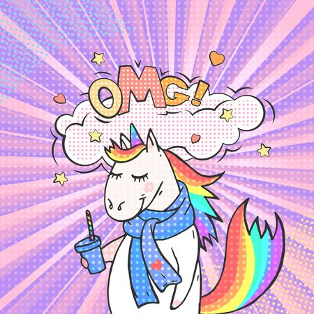 Fairy animal unicorn and speech bubble with text OMG! Vector bright background in pop art retro comic style.