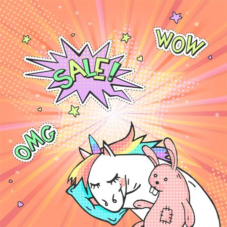 Advertising pop art poster with hand drawn magic unicorn in retro comic style. Speech bubble with text SALE! And stickers WOW, OMG. Vector background.