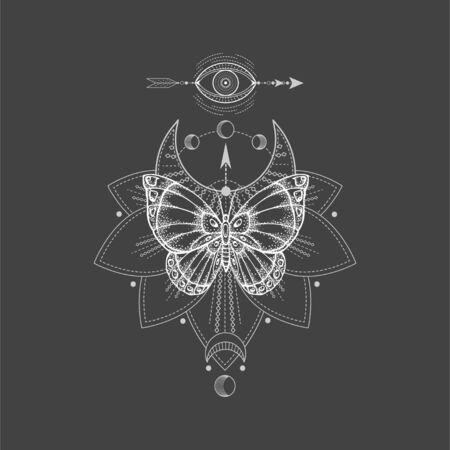 Vector illustration with hand drawn butterfly and Sacred geometric symbol on black background. Abstract mystic sign. White linear shape. For you design, tattoo or magic craft.