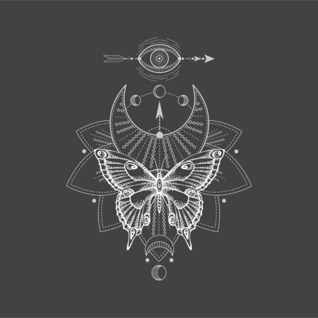 Vector illustration with hand drawn butterfly and Sacred geometric symbol on black background. Abstract mystic sign. White linear shape. For you design, tattoo or magic craft. Vettoriali
