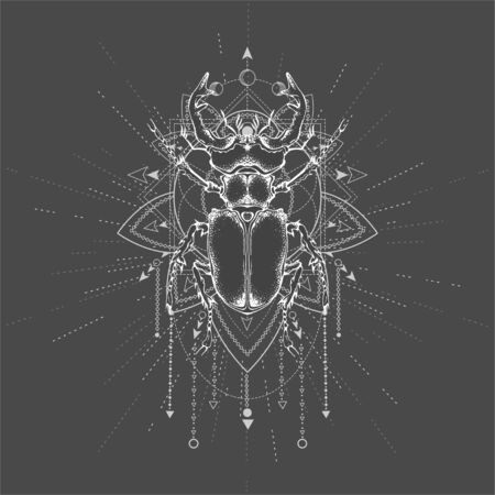 illustration with hand drawn Stag Beetle and Sacred symbol on black background. Abstract mystic sign. White linear shape. For you design, tattoo or magic craft. Illustration