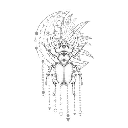 illustration with hand drawn stag beetle and Sacred geometric symbol on white background. Abstract mystic sign. Black linear shape. For you design, tattoo or magic craft.