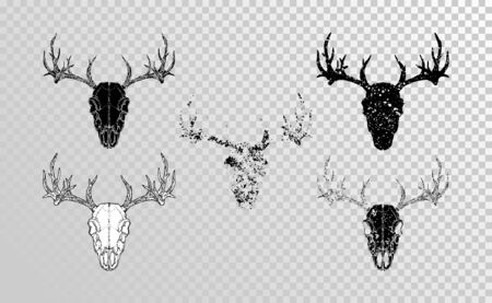 set of hand drawn skulls deer with grunge elements in different versions on a transparent background. Monochrome. For you design, tattoo or magic craft.