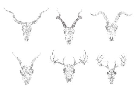 set of silhouettes skulls of horned animals: antelope, deer and goats on white background. Grunge style. Monochrome image. For you design, print, tattoo or magic craft.