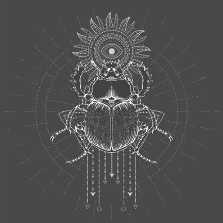 Vector illustration with hand drawn Scarab and Sacred geometric symbol on black background. Abstract mystic sign. White linear shape. For you design, tattoo or magic craft. 版權商用圖片 - 129346763