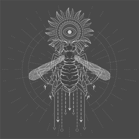 illustration with hand drawn Wasp and Sacred symbol Sun on black background. Abstract mystic sign. White linear shape. For you design, tattoo or magic craft.
