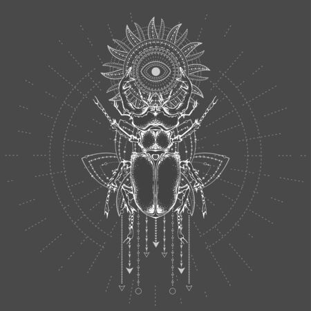 illustration with hand drawn Stag Beetle and Sacred symbol on black background. Abstract mystic sign. White linear shape. For you design, tattoo or magic craft.  イラスト・ベクター素材