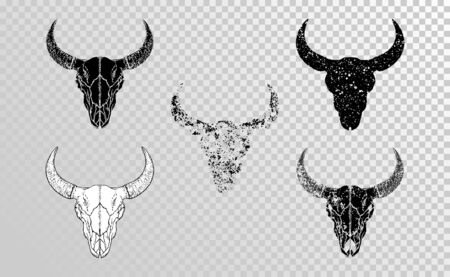 set of hand drawn skulls bull with grunge elements in different versions on a transparent background. Monochrome. For you design, tattoo or magic craft.
