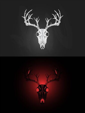 Vector illustration with two variants of hand drawn deer skull on dark background. In realistic style. For you design, tattoo or magic craft. Stock Illustratie