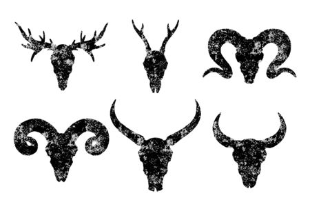 set of six hand drawn skulls of horned animals: wild buffalo, bull, deer and ram on white background. Black silhouettes with grunge texture in old sketch and vintage style. Illustration