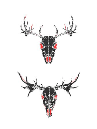 illustration with hand drawn skulls of deer on white background. Black and red silhouettes. In realistic style. For you design, tattoo or magic craft.  イラスト・ベクター素材