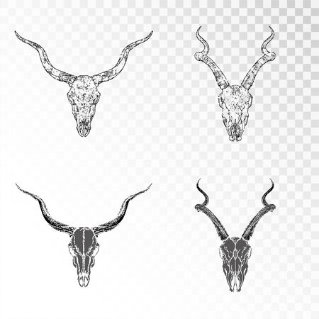 Vector set of hand drawn skulls antelopes on transparent background. Black silhouettes and contour with grunge texture. For you design, print, tattoo or magic craft.