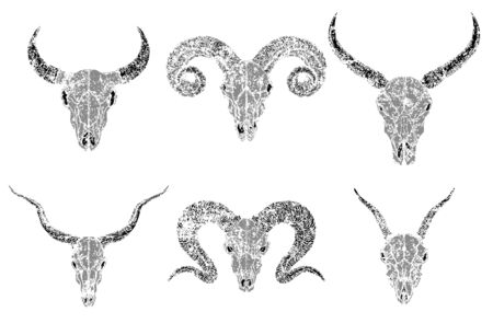 Vector set of silhouettes skulls of horned animals wild buffalo, bull, goats and ram on white background. Grunge style. Monochrome image. For you design, print, tattoo or magic craft.