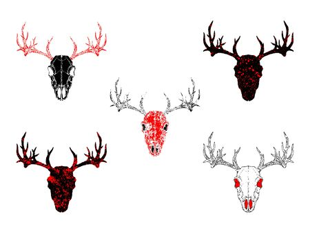 Vector set of hand drawn skulls deer with grunge elements in different versions on a white background. In black and red colors. For you design, tattoo or magic craft. Stock Vector - 129346786