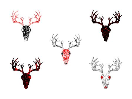 Vector set of hand drawn skulls deer with grunge elements in different versions on a white background. In black and red colors. For you design, tattoo or magic craft.