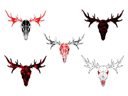 Vector set of hand drawn skulls moose with grunge elements in different variants on a white background. In black and red colors. For you design, tattoo or magic craft. Illustration