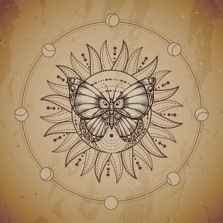 illustration with hand drawn butterfly and Sacred geometric symbol on vintage paper background. Abstract mystic sign. Sepia linear shape. For you design or magic craft.  イラスト・ベクター素材
